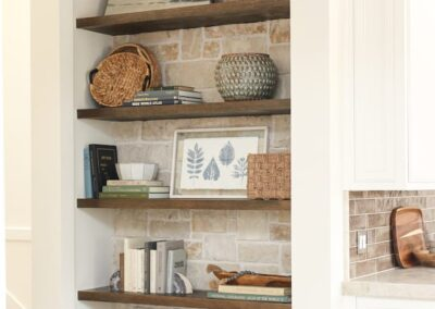 Jenks New Homes Gallery Custom Features Custom Built Shelving On Real Stone Wall